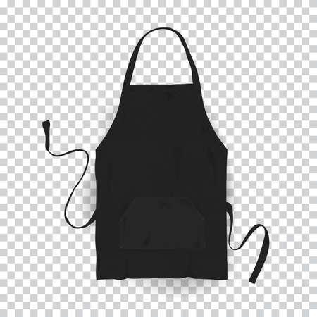 Realistic black kitchen apron. Vector illustration on transparent background.