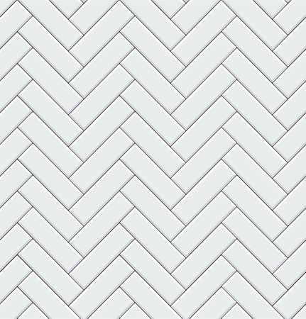 Modèle sans couture avec des carreaux blancs modernes à chevrons rectangulaires. Texture diagonale réaliste. Illustration vectorielle