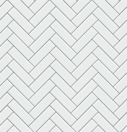 Seamless pattern with modern rectangular herringbone white tiles. Realistic diagonal texture. Vector illustration. Ilustração