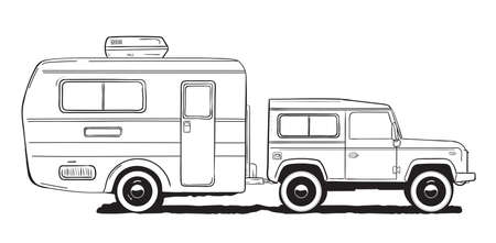 Camping caravan. Motorhome, amper car with trailer. Black and white hand drawn illustration.