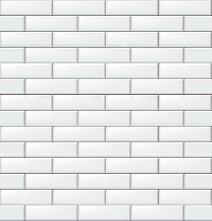 Seamless pattern with modern rectangular brick white tiles. Realistic horizontal texture. Vector illustration.