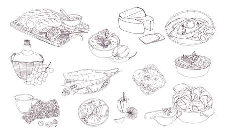 Georgian cuisine. Different dishes. Hand drawn black and white vector illustration. Stock Photo