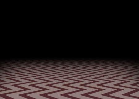 Red zig-zag floor in the darkness. Horizontal abstract dark background. Mystic room, vector illustration