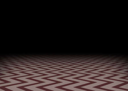 Red zig-zag floor in the darkness. Horizontal abstract dark background. Mystic room, vector illustration