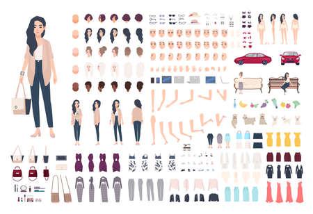 Junge Dame Charakter Konstruktor. Trendy Mädchen Schöpfung gesetzt. Verschiedene Frau Haltungen, Frisur, Gesicht, Beine, Hände, Kleidung, Zubehör Sammlung. Vector Cartoon Illustration. Vorne, seitlich, rückansicht