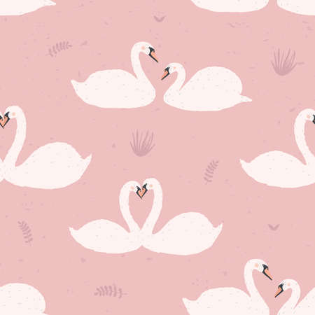 Seamless pattern with white swans. Swan s couples on pink background. Colorful vector illustration. Illustration
