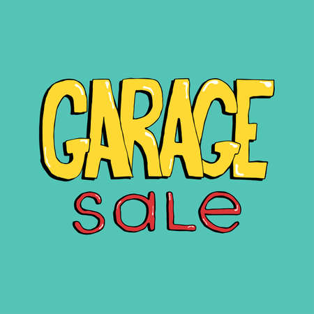 Garage sale hand drawn lettering. Colorful event announcement vector inscription.