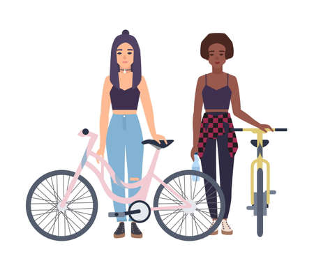 chic woman: Modern girls standing with bicycles. Cartoon flat colorful vector illustration. Illustration