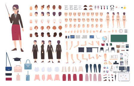 Teacher character constructor. Female lecturer creation set. Various postures, hairstyle, face, legs, hands, accessories, clothes collection. Vector cartoon illustration. Woman front, side, back view.