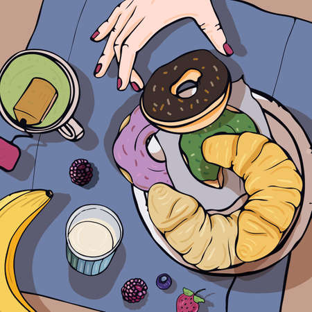Breakfast top view. Square with luncheon. Healthy, fresh brunch: tea, donuts, banana, croissant and berries. Colorful hand drawn vector illustration Illustration