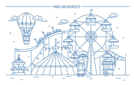 Nice horizontal banner of amusement park. Circus, ferris wheel, attractions, side view with aerostat in air. Monochrome line art vector illustration. Illustration