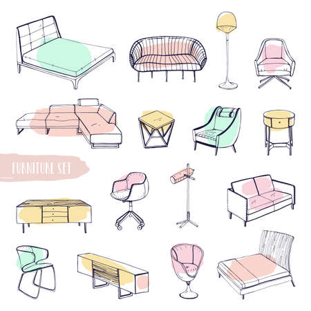 settee: Set of various furniture. Hand drawn different types sofas, chairs and armchairs, bedside tables, beds, tables, lamps collection. Colorful vector sketch illustration.