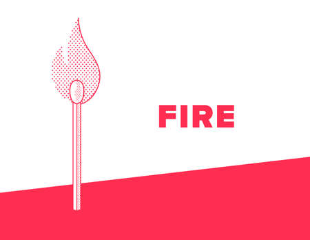 Flaming match banner in red and white color vector illustration.