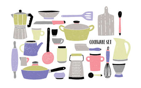 Cookware set on white background. Stylized hand drawn doodle dishes. Pastel colors vector illustration.