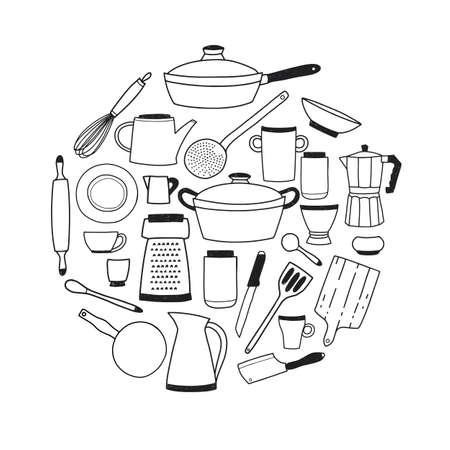 Kitchenware contour set on white background. Illustration