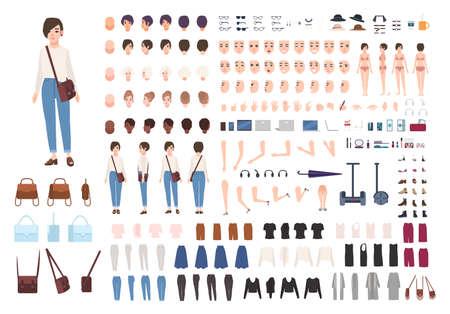 Stadsvrouw met verschillende houdingen, kapsel, gezicht, benen, handen, kledinginzameling.