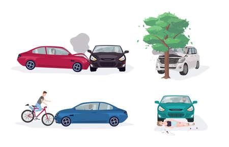 Accidentes de carretera en diferentes situaciones Ilustración de vector