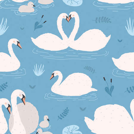 A Seamless pattern with white swans. Singles and birds pairs with chicks. Swan s couples on blue background. Colorful vector illustration.