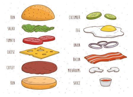Składniki Hamburger osobno. Bun, sałatka, pomidor, ser, kotlet, jajko bekon grzyby ketchup cebuli Kolorowe ręcznie rysowane ilustracji wektorowych