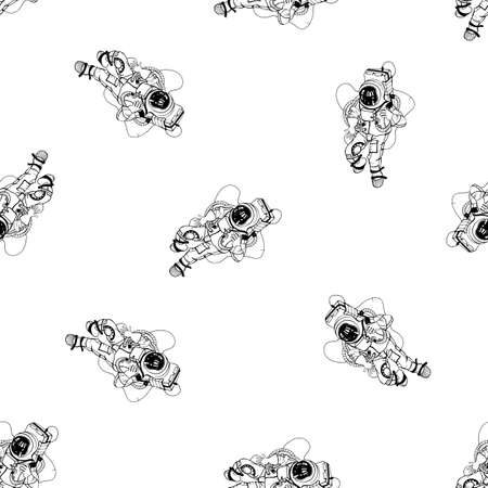 spacesuit: Astronaut in spacesuit seamless pattern. Illustration