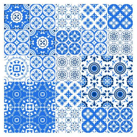 Majolica tile collection, azulejo design.