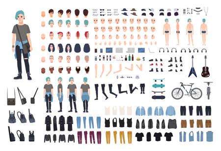 非公式なティーンエイ ジャーの文字のコンス トラクターです。パンク作成セットです。さまざまなポーズ、髪型、顔、足、手、服コレクション。ベ