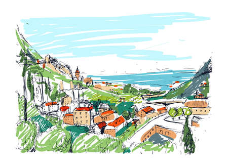 georgia: Remarkable Georgian landscape sketch. Colorful hand drawn outline vector illustration.