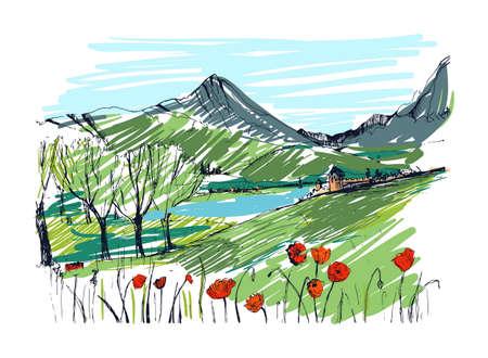 hamlet: Remarkable Georgian landscape sketch. Colorful hand drawn outline vector illustration.