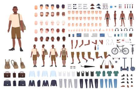 Constructor de personaje chico joven. Conjunto de creación de hombres adultos. Diferentes posturas, peinado, rostro, piernas, manos, ropa, colección de accesorios. Ilustración de vector