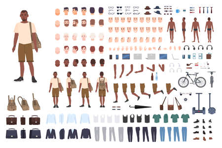 Young guy character constructor. Adult male creation set. Different postures, hairstyle, face, legs, hands, clothes, accessories collection.