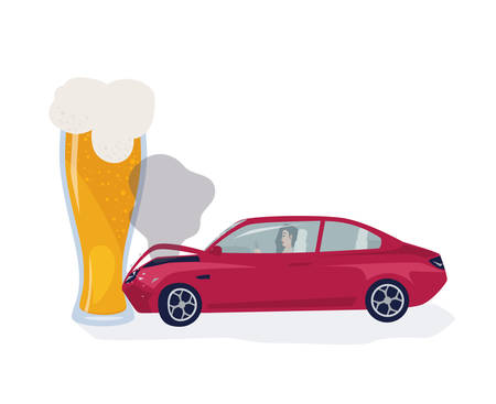 Drunk driver concept. Car crached into beer glass. Colorful vector illustration.