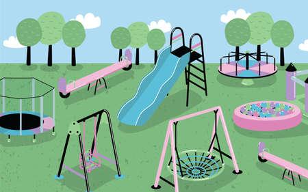 Conjunto De Juegos Infantiles Diferentes Ninos S Trampolin De