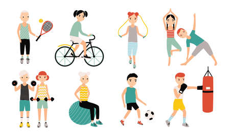 Kids sports activity collection. Exercising children set. Weightlifting, boxing, jumping rope, tennis, football, yoga, cycling training. Colorful vector illustration.