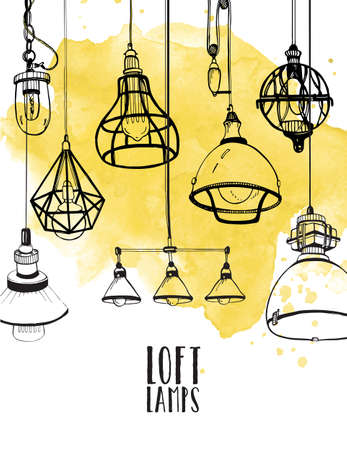 chandelier background: flyer with modern edison loft lamps, vintage, retro style light bulbs. Hand drawn vector background