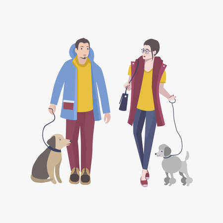 Young guy and girl walking with dogs, Colorful flat vector illustration.