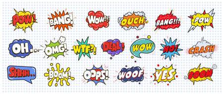 Comic-Sound-Rede-Effekt Blasen-Set isoliert auf weißem Hintergrund Illustration. Wow, Pow, Bang, Autsch, Crash, Schuss, nein, ja, Boom, oh omg wtf deal oops Inschriften Standard-Bild - 83951249