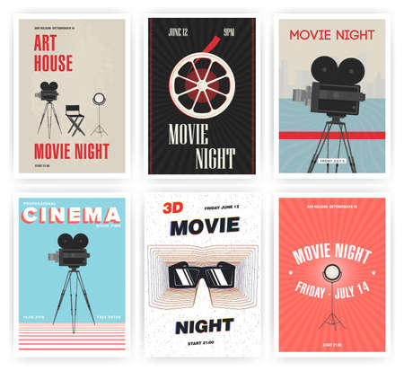 film industry: Movie night poster set. Cinema events different advertising placards. Colorful vector illustration.