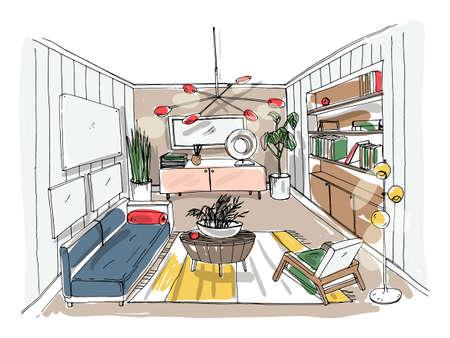 Moderno salotto interno. Salotto arredato. Illustrazione vettoriale colorato schizzo su sfondo chiaro. Vettoriali