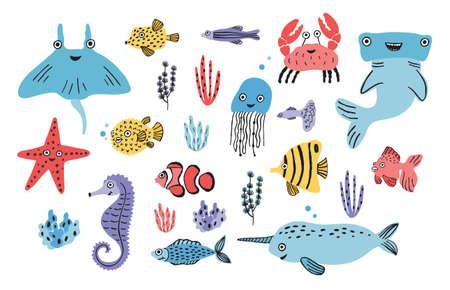 Conjunto de vida marina. Algas dibujadas a mano, peces voladores, medusas, cangrejos, tiburones martillo, ballenas y más. Vectores