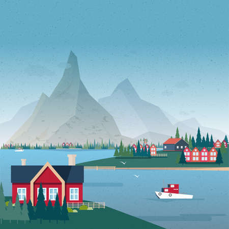 hamlet: Norwegian landscape panorama. Bay view with buildings and boat. Colorful vector illustration.