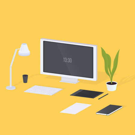 home office interior: Modern designer workplace. Monitor, lamp, keyboard, plant, notebook, computer, graphics tablet on yellow background Colorful isometric vector illustration