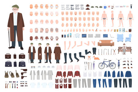 Old man character constructor, creation set. Different grandfather postures, hairstyle, face, legs, hands, clothes, accessories.