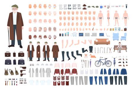 Oude man karakter constructor, creatie set. Verschillende grootvaderhoudingen, kapsel, gezicht, benen, handen, kleding, accessoires.