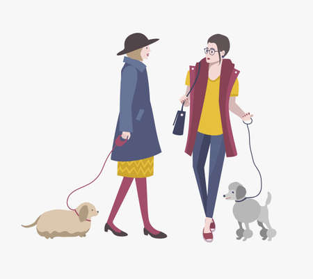 socialization: Young girls walking with dogs, Colorful flat vector illustration.