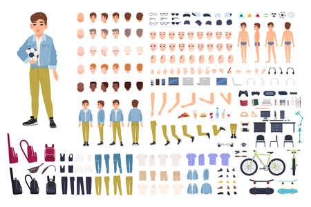 Zeichenkonstrukteur des kleinen Jungen. Schöpfungssatz des männlichen Kindes. Verschiedene Haltungen, Frisur, Gesicht, Beine, Hände, Kleidung, Accessoires Sammlung. Vektor-Cartoon-Illustration Vorderseite Rückseite