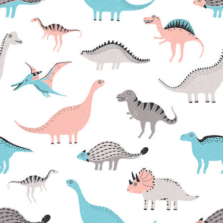 funny dinosaurs seamless pattern. Cute childish dino background. Colorful hand drawn texture.  イラスト・ベクター素材