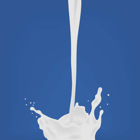 Pouring milk. milk drop with splash. Colorful realistic vector illustration on blue background.