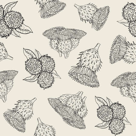 Burdock seamless texture with hand drawn buds. Outline vector illustration pattern.