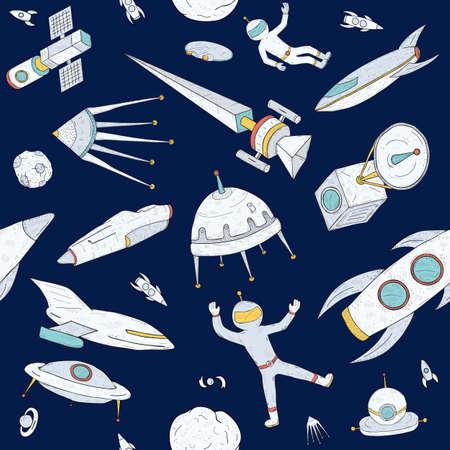 손으로 그린 낙서 천문학 원활한 패턴. 공간 개체, 행성, 셔틀, 로켓, 인공 위성 및 우주 비행사와 어두운 배경. 다채로운 텍스처입니다.
