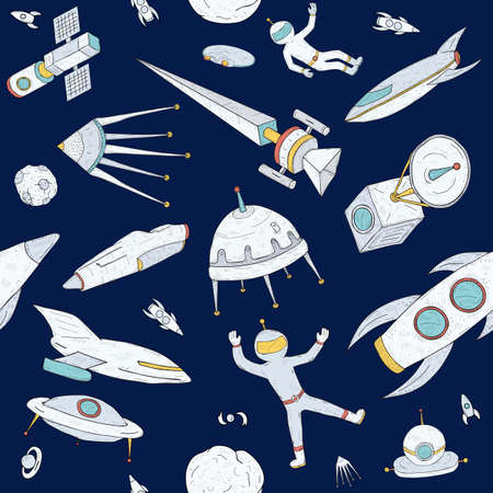 Hand drawn doodle astronomy seamless pattern. Dark background with space objects, planets, shuttles, rockets, satellites and cosmonaut. Colorful texture. Illusztráció